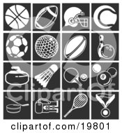Clipart Illustration Of A Collection Of White Sports Icons Over A Black Background Including A Basketball Football Football Helmet Tennis Ball Soccer Ball Golf Ball Rugby Ball Pin And Bowling Ball Curling Stone Shuttlecock Ping Pong Ball And Pa by AtStockIllustration
