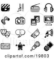 Clipart Illustration Of A Collection Of Black And White Clapboard Film Strip Radio Headphones Controller Camera Pictures Computer Masks Exclamation Point Video Camera Speaker Equalizer Robot Microphone And Cell Phone Icons On A White Backgro by AtStockIllustration