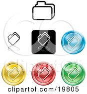 Clipart Illustration Of A Collection Of Different Colored File Icon Buttons by AtStockIllustration