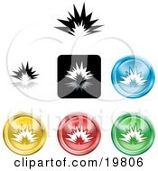 Clipart Illustration Of A Collection Of Different Colored Explosion Icon Buttons