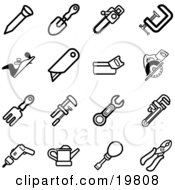 Clipart Illustration Of A Collection Of Black And White Nail Shovel Saw Clasp Razor Rake Wrench Drill Oil Can Screwdriver And Pliers Tools Icons On A White Background