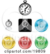 Clipart Illustration Of A Collection Of Different Colored Stop Watch Icon Buttons