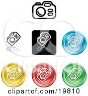 Clipart Illustration Of A Collection Of Different Colored Digital Camera Icons