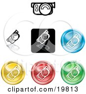 Clipart Illustration Of A Collection Of Different Colored Video Camera Icon Buttons by AtStockIllustration