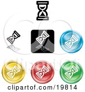 Clipart Illustration Of A Collection Of Different Colored Hourglass Cursor Icon Buttons