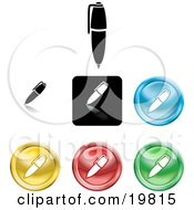 Clipart Illustration Of A Collection Of Different Colored Pen Icon Buttons