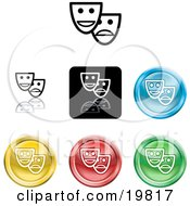Clipart Illustration Of A Collection Of Different Colored Mask Icon Buttons by AtStockIllustration