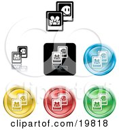 Clipart Illustration Of A Collection Of Different Colored Picture Icon Buttons by AtStockIllustration