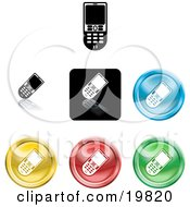 Clipart Illustration Of A Collection Of Different Colored Cell Phone Icon Buttons