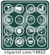 Clipart Illustration Of A Collection Of Green Food Icons Including A Martini Pigs On A Farm Shish Kebobs Orange Juice Corn Fish Picnic Basket Wine Beer Chicken Breakfast Grapefruit Bread Dinner Hamburger And Cheese by AtStockIllustration