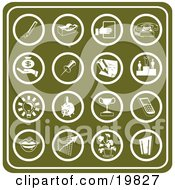 Clipart Illustration Of A Collection Of Green Business Icons Including A Pencil Tape Dispenser Telephone Money Winner Light Bulb Piggy Bank Trophy Cell Phone Lips Chart Plant And Door