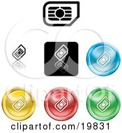 Clipart Illustration Of A Collection Of Different Colored SIM Card Icon Buttons