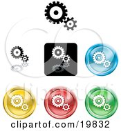 Clipart Illustration Of A Collection Of Different Colored Gears And Cogs Icon Buttons