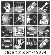 Clipart Illustration Of A Collection Of White Automotive Icons Over A Black Background Including A Car Key Engine Money Tools Documents Classifieds Car Dealer Vehicles Log Car Lot Lemon And Handshake by AtStockIllustration