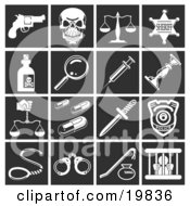 Clipart Illustration Of A Collection Of White Crime Icons Over A Black Background Including A Pistil Skull Scales Sheriff Badge Poison Magnifying Glass Needle Candlestick Pills Knife Police Badge Handcuffs And Prisoner