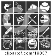 Clipart Illustration Of A Collection Of White Sports Icons Over A Black Background Including Fishing Golfing Baseball Racing Skiing Motorsports Bicycling Cricket And Ice Skating by AtStockIllustration