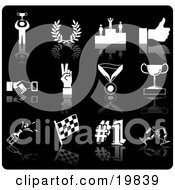 Clipart Illustration Of A Collection Of White Champion Laurel Winner Thumbs Up Handshake Peace Gesture Medal Trophy Champagne Flag Number 1 And Toasting Wine Glasses Sports Icons On A Black Background