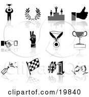 Clipart Illustration Of A Collection Of Black Champion Laurel Winner Thumbs Up Handshake Peace Gesture Medal Trophy Champagne Flag Number 1 And Toasting Wine Glasses Sports Icons On A White Background by AtStockIllustration