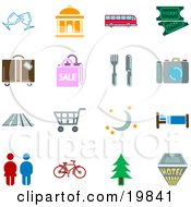 Clipart Illustration Of A Collection Of Color Travel Icons For Locations Including Wine Glasses Courthouse Bus Movie Tickets Luggage Sale Fork And Knife Camera Road Train Tracks Shopping Cart Moon And Stars Bed Restrooms Bicycle Tree And A