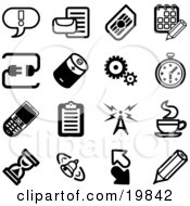 Clipart Illustration Of A Collection Of Black And White Exclamation Point Letter Calendar Connection Battery Gears Stopwatch Cellphone Clipboard Communications Tower Java Hourglass Bell Arrows And Pencil Icons On A White Background