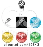 Clipart Illustration Of A Collection Of Different Colored Microphone Icon Buttons by AtStockIllustration