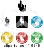 Clipart Illustration Of A Collection Of Different Colored Pointing Hand Icon Buttons by AtStockIllustration