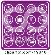 Clipart Illustration Of A Collection Of Purple Fashion Icons Including A Diamond Ring Boots Necklace Jacket Purse Bag Dress Shoes Sneakers Hats Lipstick Straw Hats Sunglasses And Handbags