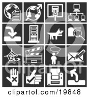 Clipart Illustration Of A Collection Of White Icons Over A Black Background Including Globes Communications Computers A Dog Files Clapboard Messenger And A Letter by AtStockIllustration