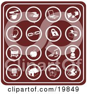 Clipart Illustration Of A Collection Of Red Icons Including Java Email Laptop Mailbox Links Padlock Printer Shopping Cart Apple Computer Hourglass Floppy Disc Home Camera And Globe by AtStockIllustration