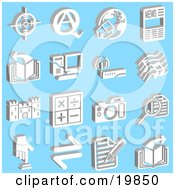 Clipart Illustration Of A Collection Of White Icons Of A Viewfinder Questions And Answers Home And Globe News Book Computer Wireless Router Music Notes Castle Math Symbols Camera Magnifying Glass Button And Letter Over A Blue Background