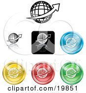 Clipart Illustration Of A Collection Of Different Colored Globe Icon Buttons