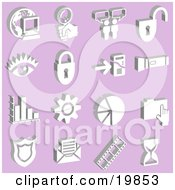 Clipart Illustration Of A Collection Of White Icons Of A Computer Globe Magnifying Glass Messenger Padlock Eye Mp3 Player Flashlight Graph Cog Pie Chart Folder Badge Envelope Film Strip And Hourglass Over A Purple Background by AtStockIllustration