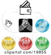 Clipart Illustration Of A Collection Of Different Colored Wallet Icon Buttons by AtStockIllustration