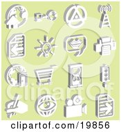 Clipart Illustration Of A Collection Of White Icons Of A Home With A Globe Computer Tower Signals Letter Lightbulb Messenger Printer Shopping Cart Hourglass Street Light Eye And Video Camera Over A Yellow Background by AtStockIllustration