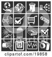Clipart Illustration Of A Collection Of White Icons Over A Black Background Including A Hand Holding A Globe World News Fortress Tower Computer Eyeglasses And Letter Checking Shopping Cart Spiderweb Trash Can Information X Cables Calendar Ch