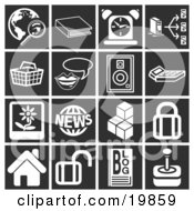 Clipart Illustration Of A Collection Of White Icons Over A Black Background Including A Magnifying Glass And Globe Book Alarm Clock Computer Basket Messenger Speaker Calculator Flower Picture News Cubes Padlock House Blog And Joystick