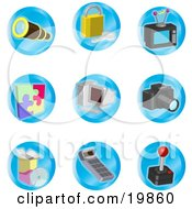 Clipart Illustration Of A Collection Of Telescope Padlock Television Puzzle Computer Camera Disc Calculator And Joystick Color Icons On A White Background by AtStockIllustration