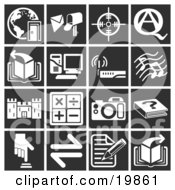 Clipart Illustration Of A Collection Of White Icons Over A Black Background Including A Doorway And Globe Mailbox Target Question And Answer Book Computer Wireless Router Music Notes Castle Math Signs Camera Book Button And A Letter