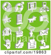 Clipart Illustration Of A Collection Of White Letter And Globe Arrow And Globe Connection Network Dog File Letter Joystick Messenger And Hand Icons Over A Green Background by AtStockIllustration