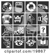 Clipart Illustration Of A Collection Of White Icons Over A Black Background Including A Home And Globe Newspaper Refresh Arrows Padlock Phone Over A Computer Shopping Cart Hand Pointing Speaker Magnifying Glass Fire Video Camera Www Globe And
