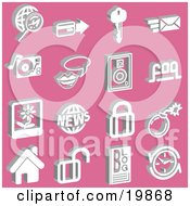 Clipart Illustration Of A Collection Of White Magnifying Glass And Globe Credit Card Key Email Record Player Messenger Speakers Faq Polaroid Picture News Padlocks Bomb Home Blog And Clock Icons Over A Pink Background