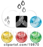 Collection Of Different Colored Water Droplet Icon Buttons