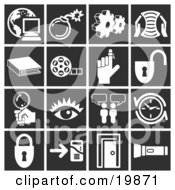 Clipart Illustration Of A Collection Of White Icons Over A Black Background Including A Computer Over A Globe Bomb Cogs Letter Book Film Reel Reminder On A Finger Padlock Magnifying Glass Eye Messenger Clock Doorway And Flashlight by AtStockIllustration