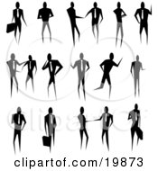 Clipart Illustration Of A Silhouetted Collection Of Business People Conducting Business And Standing In Poses