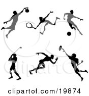 Clipart Illustration Of A Collection Of Silhouetted Athletes Playing Basketball Tennis Soccer Golf Running And American Football by AtStockIllustration