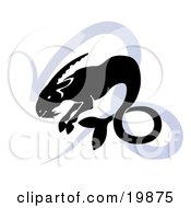 Clipart Illustration Of A Silhouetted Sea Goat Over A Blue Capricorn Astrological Sign Of The Zodiac