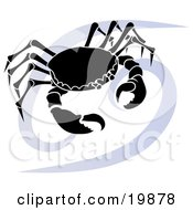 Clipart Illustration Of A Silhouetted Crab Over A Blue Cancer Astrological Sign Of The Zodiac