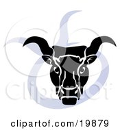 Clipart Illustration Of A Silhouetted Buill Over A Blue Taurus Astrological Sign Of The Zodiac