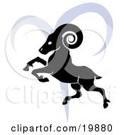 Clipart Illustration Of A Silhouetted Ram Over A Blue Aries Astrological Sign Of The Zodiac by AtStockIllustration