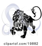 Clipart Illustration Of A Silhouetted Lion Over A Blue Leo Astrological Sign Of The Zodiac by AtStockIllustration